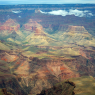 The Grand Canyon from Mather Point at the South Rim of the Grand Canyon, with Phantom Ranch in the bottom right.