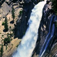 A roaring Nevada Falls in Yosemite National Park.