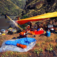 A private trip camp in Hells Canyon on the Snake River.