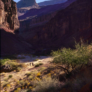 Backpackers at Hance Rapid in the Grand Canyon.
