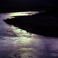 The Colorado River as the sun sets.
