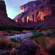 A tranquil Grand Canyon scene at sunset.