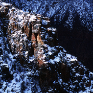The South Rim of the Grand Canyon in winter.