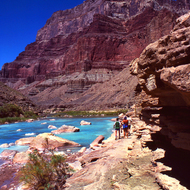The amazing turquoise waters of the Little Colorado River near its confluence with the Colorado River.