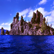 Phantom Ship Island in Crater Lake.