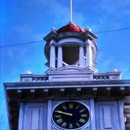 The clock tower of the Tuolumne County Courthouse in Sonora, California.