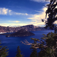 Wizard Island and Crater Lake.