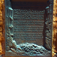 A plaque in honor of Norman and Doris Nevills, early Southwest explorers, installed at Navajo Bridge.