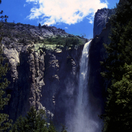 Bridal Veil Falls in summer, Yosemite National Park.