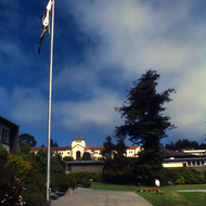 Founder's Hall in the distance on the Humboldt State University campus.