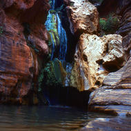 A view of Elves Chasm from near water level in the Grand Canyon.