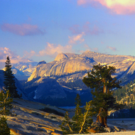 The view from Olmstead Overlook looking toward Tenaya Lake in Yosemite National Park.