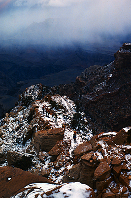 Thumbnail image ofHikers on the Kaibab Trail in winter.