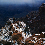 Hikers on the Kaibab Trail in winter.
