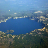 Crater Lake from a commercial airplane.