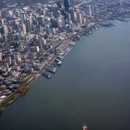 Downtown Seattle from a commercial plane.
