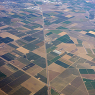 An aerial view of Central Valley farmland in California near Modesto.