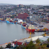 Ships moored in the harbor of St. John's, Newfoundland.