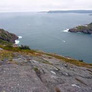 The entrance to the harbor at St. John's, Newfoundland from Signal Hill (with a view of Fort Amherst).