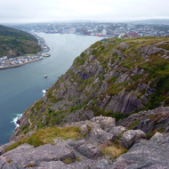The St. John's, Newfoundland harbor as seen from Signal Hill.
