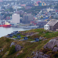 The gun battery overlooking the entrance to the harbor of St. John's, Newfoundland.