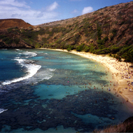 Hanauma Bay Nature Preserve Park in Hawai'i, a great place to snorkel.