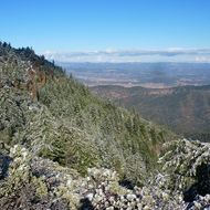 Crags near the top of Mount St. Helena, looking into the valley to the east.
