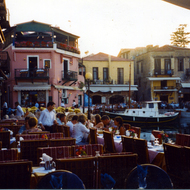 A harborside cafe in Rethymno, Crete.