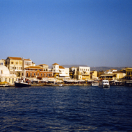 The harbor in Chania, Crete.