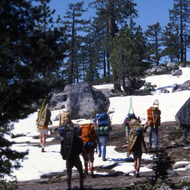 Backpackers in the 1970s in the Sierra Nevada Mountains near Yosemite.