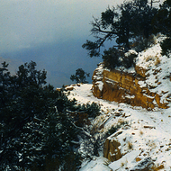 A Grand Canyon trail in snow.