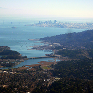 A view south from the top of Mt. Tamalpais to Sausalito and San Francisco.