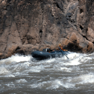 A private boat in the middle of Granite Rapid.