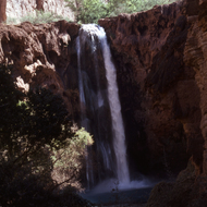 Mooney Falls in the Havasupai lands in the Grand Canyon.