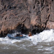 A private rafter in Granite Rapid in the Grand Canyon.