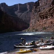 Rigging boats in the morning on a private river trip in the Grand Canyon.