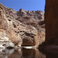 Approaching Redwall Cavern on the Colorado River through the Grand Canyon.