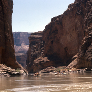 River rafts floating into the most beautiful stretch of river in the United States.