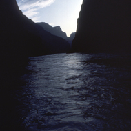 Sunset on the Colorado River through the Grand Canyon.