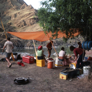 A private rafting trip camp on the Hells Canyon stretch of the Snake River.