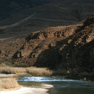 A bend in the Colorado River in winter.