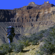 A backpacker in the Grand Canyon.
