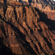 Grand Canyon cliffs at sunset.