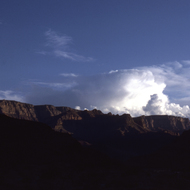 The South Rim of the Grand Canyon at sunset, as seen from below.