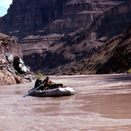A private rafter on a now-disallowed 30-day trip in the Grand Canyon.