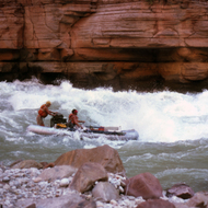 A private whitewater raft running Upset Rapid in the late 1970s.