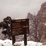 A Kaibab trail sign in the winter.