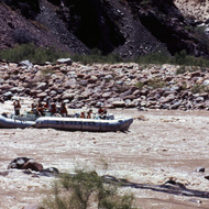 A motor rig passing under the Bright Angel Bridge crossing the Colorado River near Phantom Ranch.