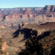A view of the Grand Canyon from the Hance Trail, with Horseshoe Mesa in the middle distance.