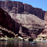 A private boater floating down the Colorado River.